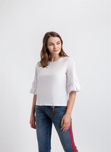 Rue Kolu Poplin Detaylı, Sıfır Yaka T-Shirt Beyaz
